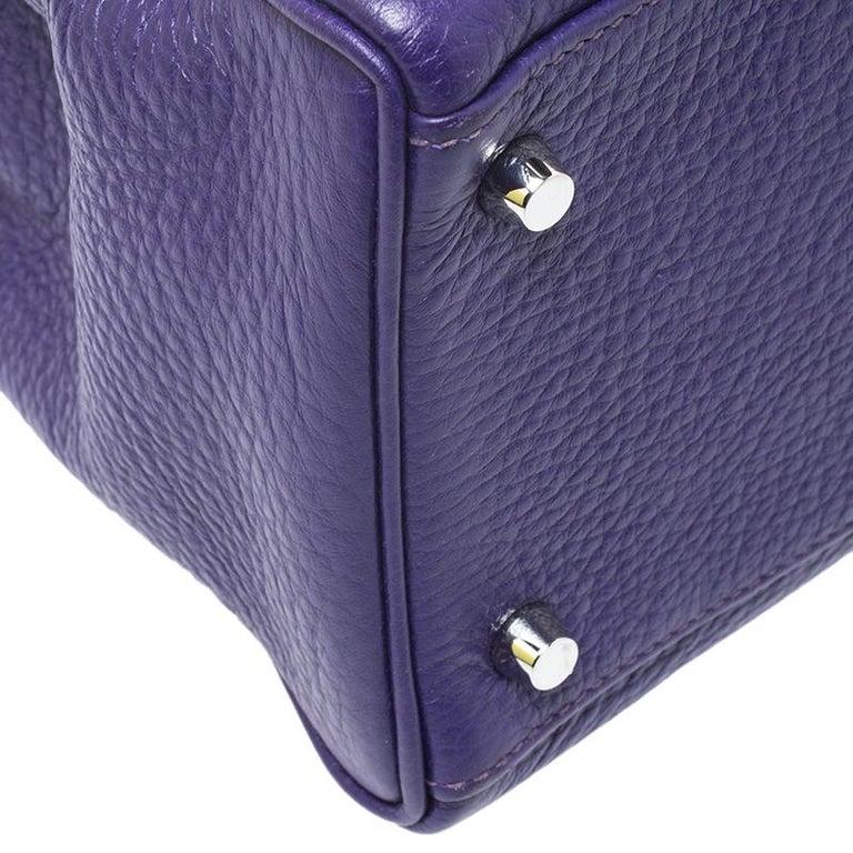 Hermes Ultraviolet Clemence Leather Palladium Hardware Kelly Retourne 35 Bag For Sale 1