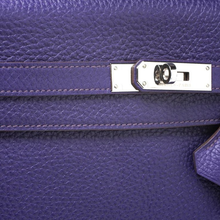 Hermes Ultraviolet Clemence Leather Palladium Hardware Kelly Retourne 35 Bag For Sale 2