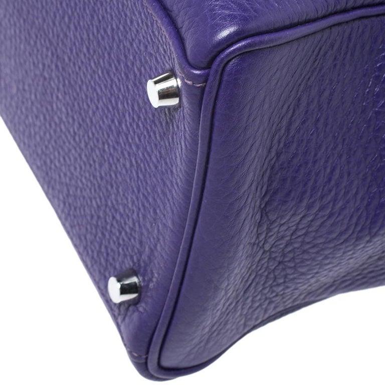 Hermes Ultraviolet Clemence Leather Palladium Hardware Kelly Retourne 35 Bag For Sale 3