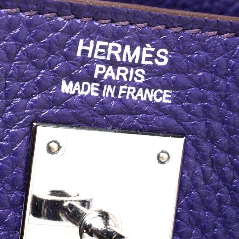 Hermes Ultraviolet Clemence Leather Palladium Hardware Kelly Retourne 35 Bag For Sale 4