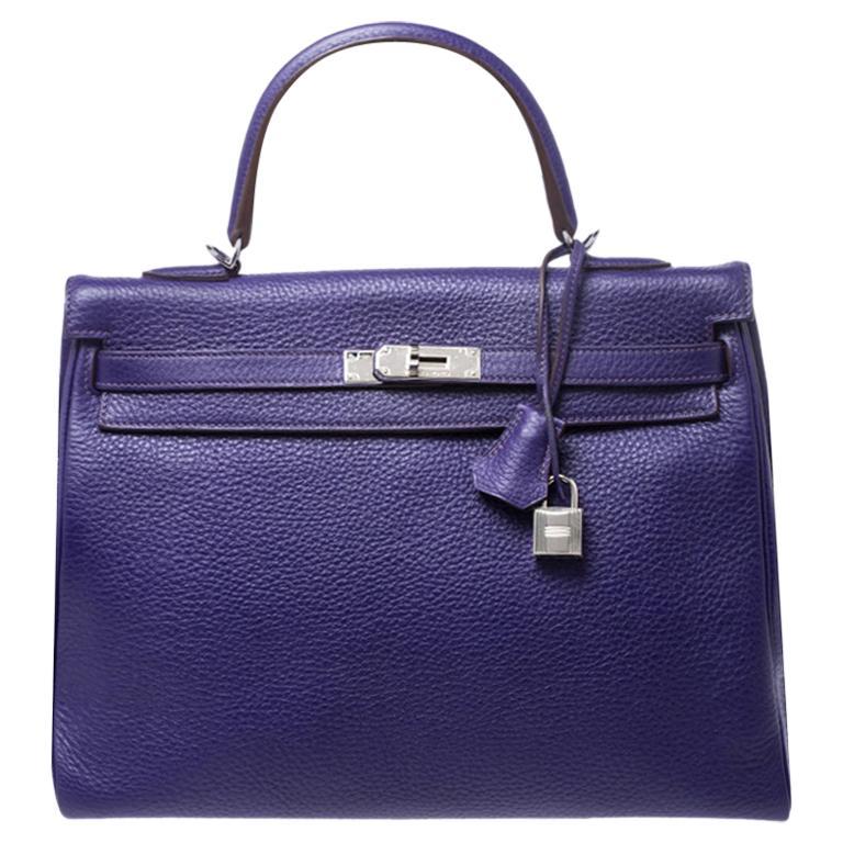 Hermes Ultraviolet Clemence Leather Palladium Hardware Kelly Retourne 35 Bag For Sale