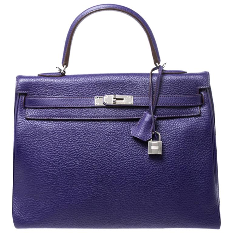 Hermes Ultraviolet Clemence Leather Palladium Hardware Kelly Retourne 35 Bag For Sale