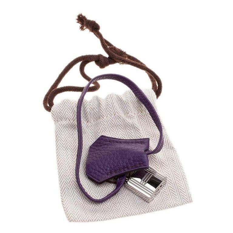 Hermes Ultraviolet Togo Leather Palladium Hardware Birkin 35 Bag For Sale 5