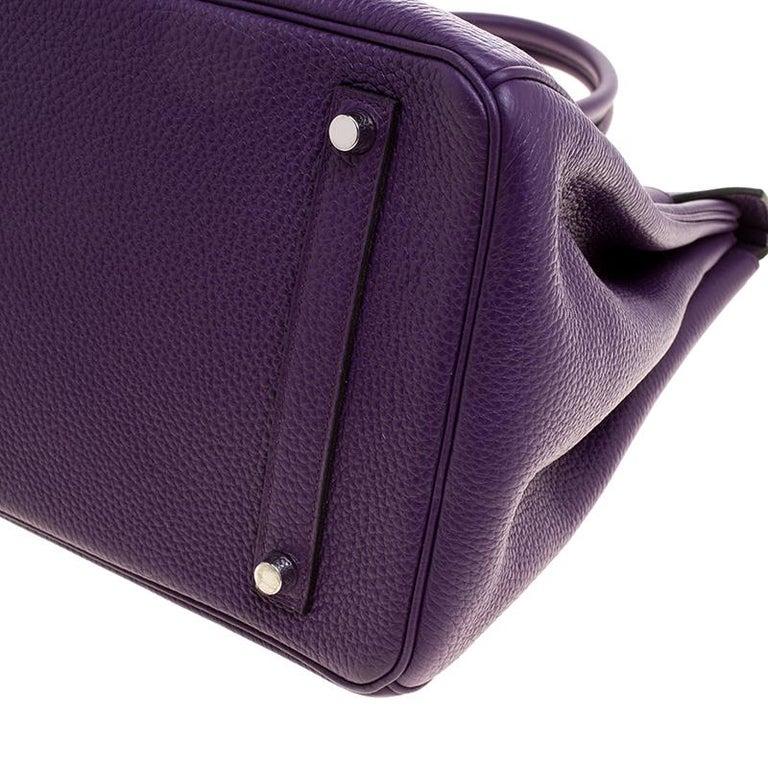 Hermes Ultraviolet Togo Leather Palladium Hardware Birkin 35 Bag For Sale 7