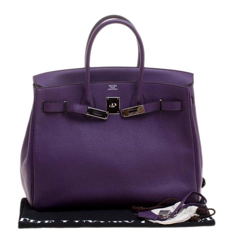Hermes Ultraviolet Togo Leather Palladium Hardware Birkin 35 Bag For Sale 8