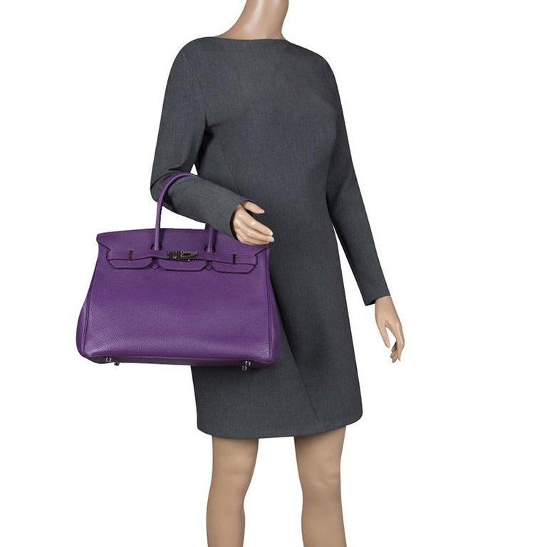 Black Hermes Ultraviolet Togo Leather Palladium Hardware Birkin 35 Bag For Sale