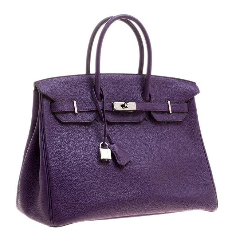Hermes Ultraviolet Togo Leather Palladium Hardware Birkin 35 Bag In Good Condition For Sale In Dubai, Al Qouz 2