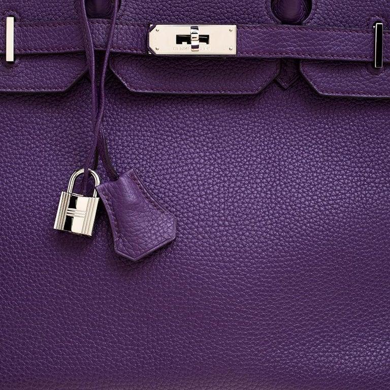 Hermes Ultraviolet Togo Leather Palladium Hardware Birkin 35 Bag For Sale 1