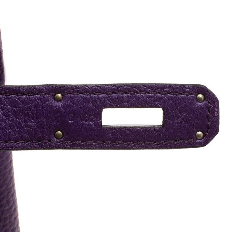 Hermes Ultraviolet Togo Leather Palladium Hardware Birkin 35 Bag For Sale 3