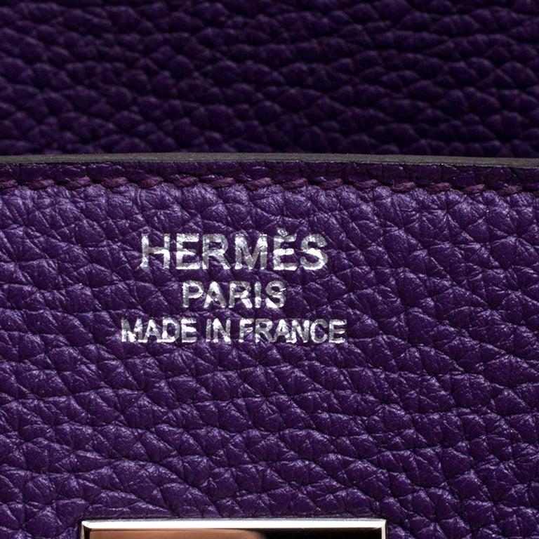 Hermes Ultraviolet Togo Leather Palladium Hardware Birkin 35 Bag For Sale 4