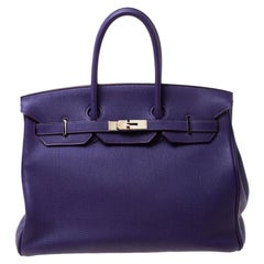 Hermes Ultraviolet Togo Leather Palladium Hardware Birkin 35 Bag