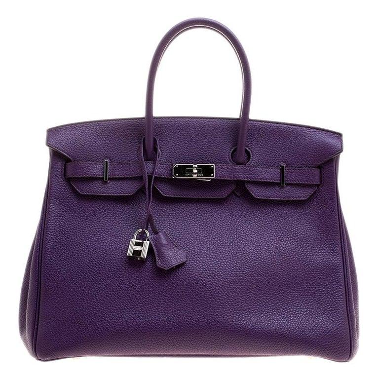 Hermes Ultraviolet Togo Leather Palladium Hardware Birkin 35 Bag For Sale