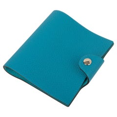 Hermes Ulysse Mini Notebook Cover Turquoise with Lined Notebook Refill