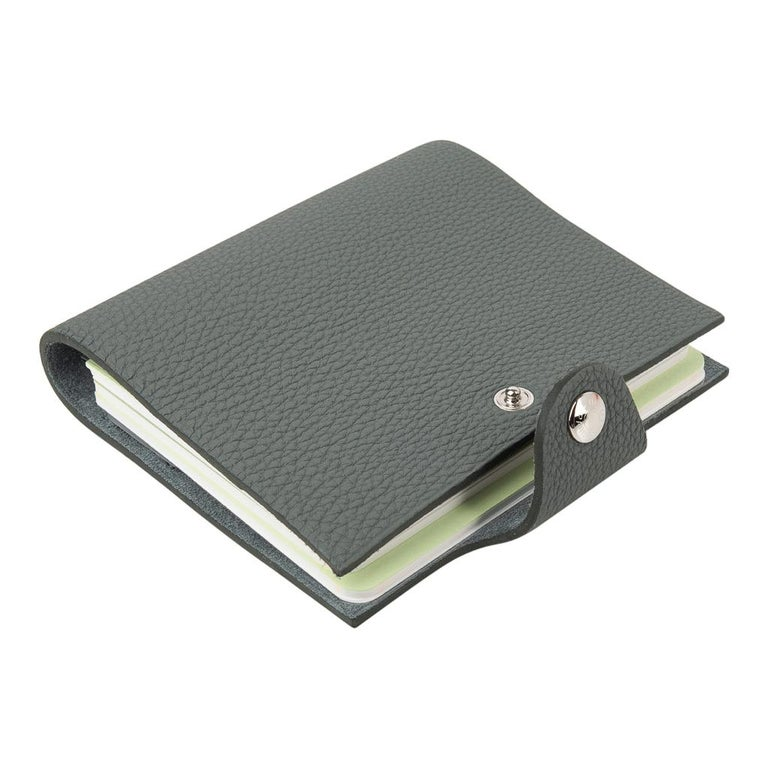 Hermes Ulysse Mini Notebook Cover Vert Amande with Unlined Notebook Refill In New Condition For Sale In Miami, FL