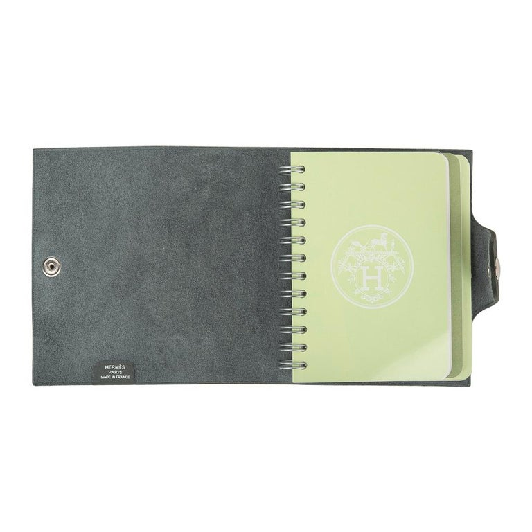 Hermes Ulysse Mini Notebook Cover Vert Amande with Unlined Notebook Refill For Sale 1