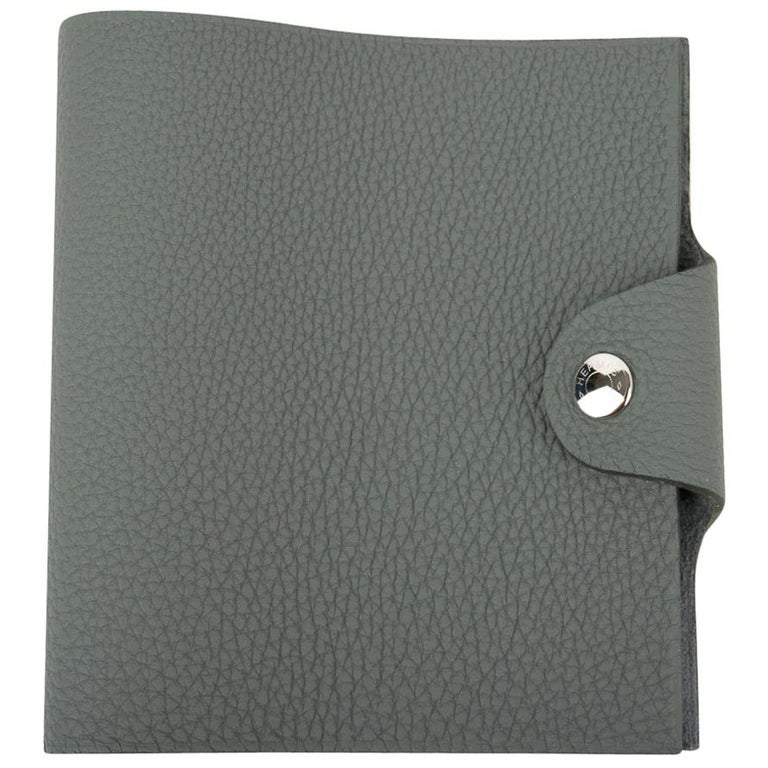 Hermes Ulysse Mini Notebook Cover Vert Amande with Unlined Notebook Refill For Sale