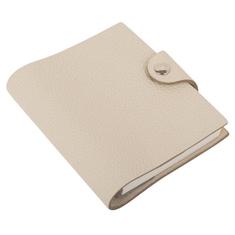 Hermes Ulysse Notebook Cover Craie Mini Model Ulysse Lined Notebook & Refill For Sale