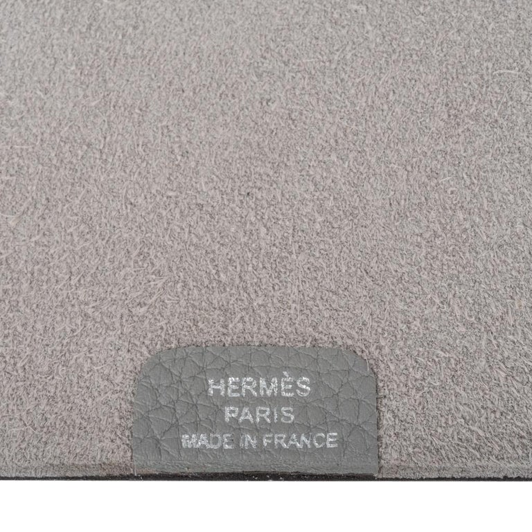 Hermes Ulysse Notebook Cover Gris Mouette PM Model with Lined Paper Refill For Sale 6