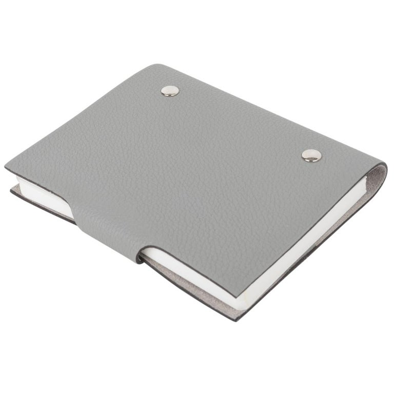 Women's or Men's Hermes Ulysse Notebook Cover Gris Mouette PM Model with Lined Paper Refill For Sale