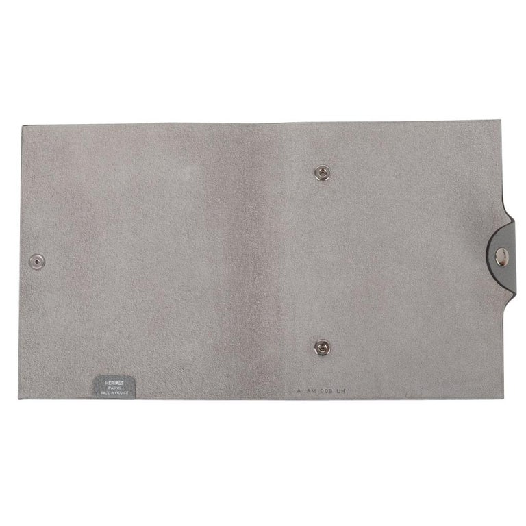 Hermes Ulysse Notebook Cover Gris Mouette PM Model with Lined Paper Refill For Sale 2