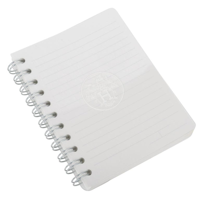 Hermes Ulysse Notebook Cover Gris Mouette PM Model with Lined Paper Refill For Sale 4