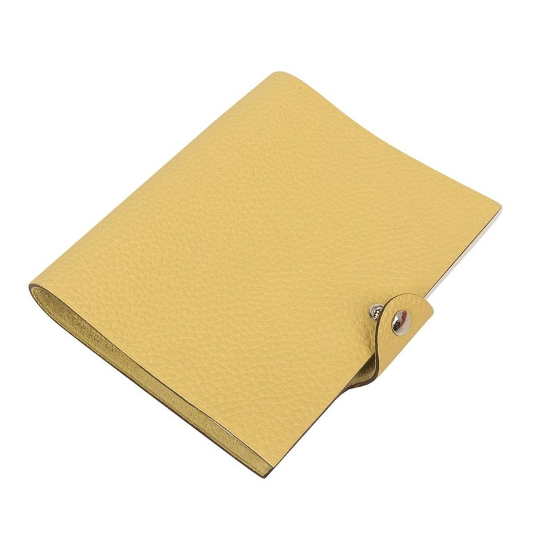Hermes Ulysse PM Notebook Cover Jaune Poussin Model with Lined Paper Refill In New Condition For Sale In Miami, FL