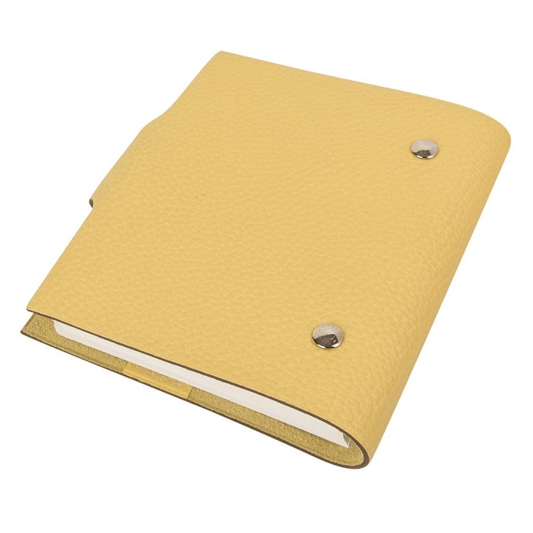 Women's or Men's Hermes Ulysse PM Notebook Cover Jaune Poussin Model with Lined Paper Refill For Sale