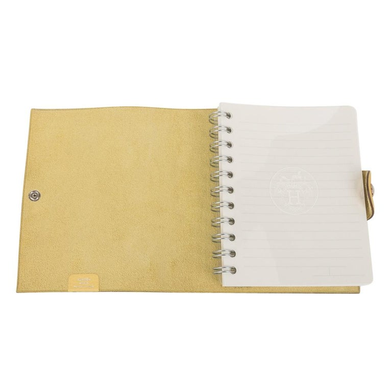 Hermes Ulysse PM Notebook Cover Jaune Poussin Model with Lined Paper Refill For Sale 3