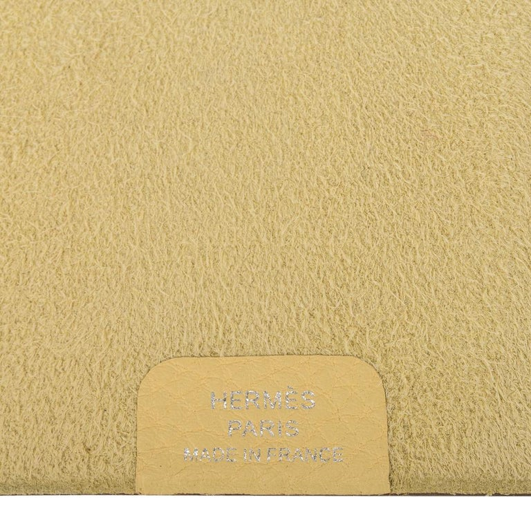 Hermes Ulysse PM Notebook Cover Jaune Poussin Model with Lined Paper Refill For Sale 4