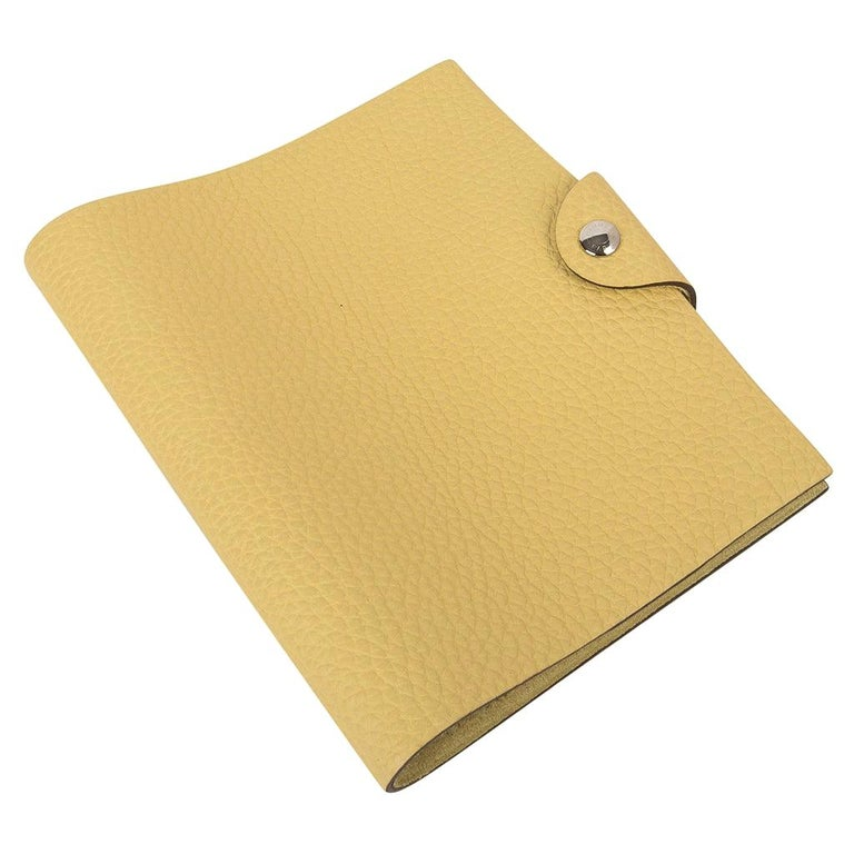 Hermes Ulysse PM Notebook Cover Jaune Poussin Model with Lined Paper Refill For Sale