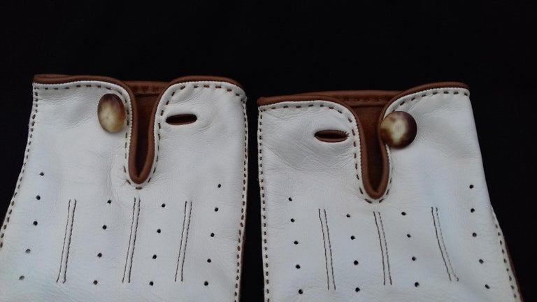 Hermès Unisex Driving Gloves Bi Color Lambskin Leather Size 7,5 In Box 5