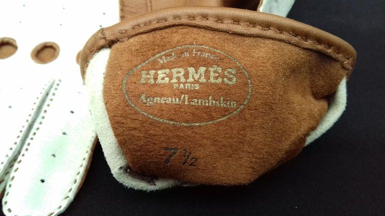 Hermès Unisex Driving Gloves Bi Color Lambskin Leather Size 7,5 In Box 7
