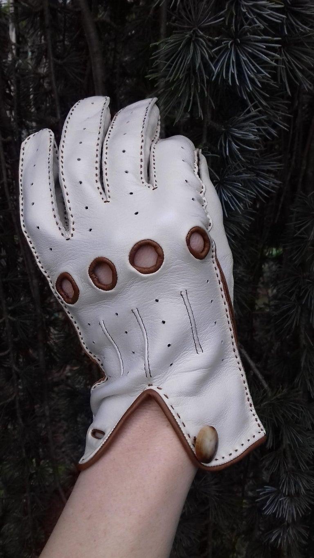 Hermès Unisex Driving Gloves Bi Color Lambskin Leather Size 7,5 In Box 8