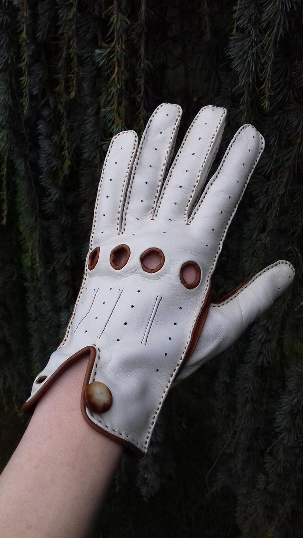 Hermès Unisex Driving Gloves Bi Color Lambskin Leather Size 7,5 In Box 10