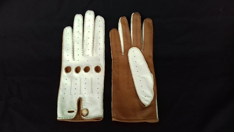 Gray Hermès Unisex Driving Gloves Bi Color Lambskin Leather Size 7,5 In Box