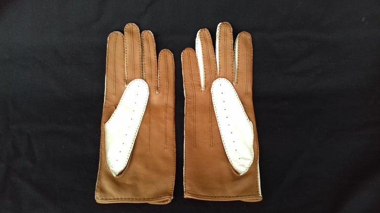 Hermès Unisex Driving Gloves Bi Color Lambskin Leather Size 7,5 In Box In New Condition In ., FR