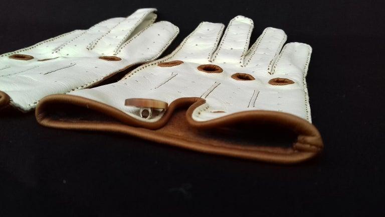 Hermès Unisex Driving Gloves Bi Color Lambskin Leather Size 7,5 In Box 3