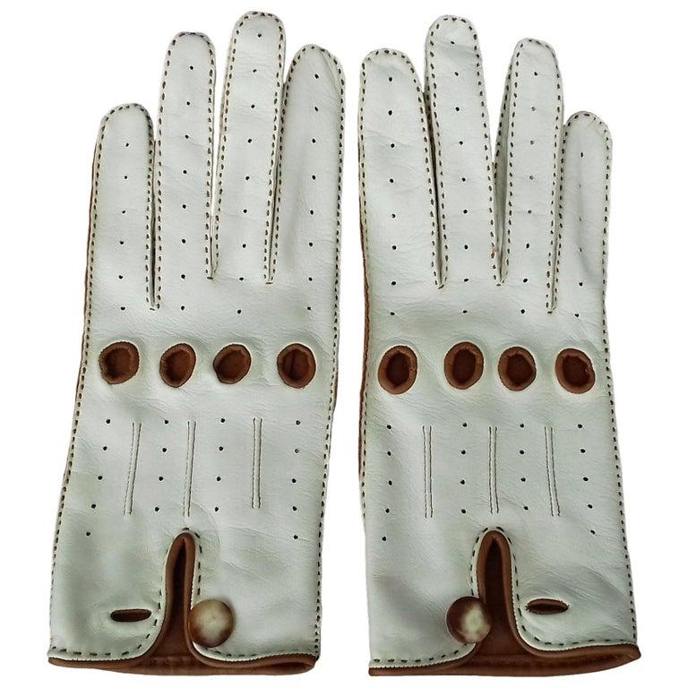 Hermès Unisex Driving Gloves Bi Color Lambskin Leather Size 7,5 In Box