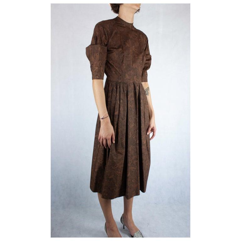 Women's Hermès unusual toile de jouy cotton dress. circa 1960s For Sale