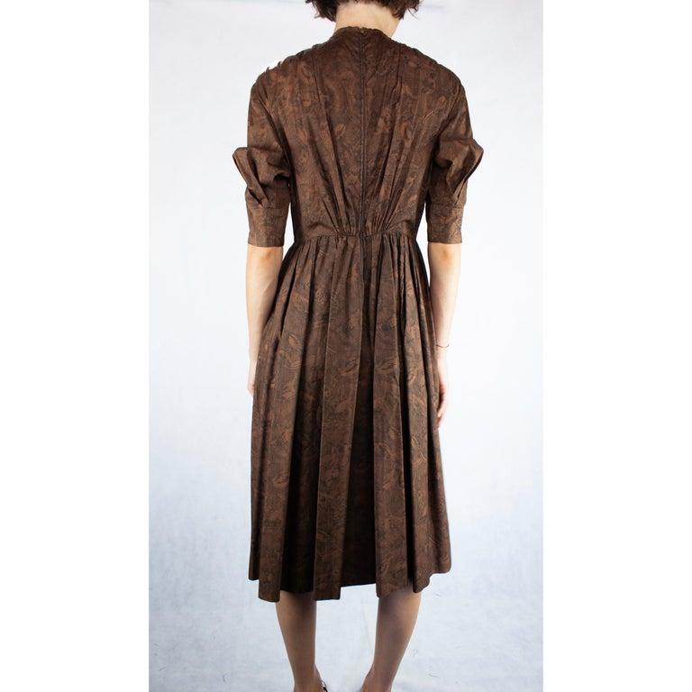 Hermès unusual toile de jouy cotton dress. circa 1960s For Sale 1
