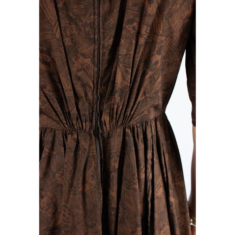Hermès unusual toile de jouy cotton dress. circa 1960s For Sale 4
