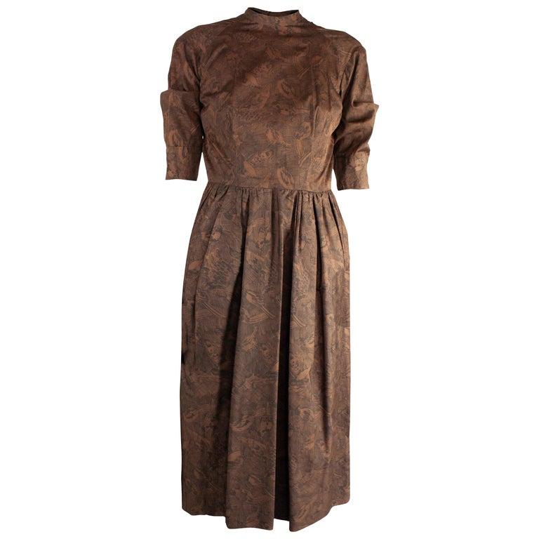 Hermès unusual toile de jouy cotton dress. circa 1960s For Sale