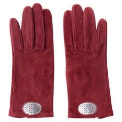 Hermes Unworn Burgundy Wine Red Suede Gloves w Pierced H Silver Oval