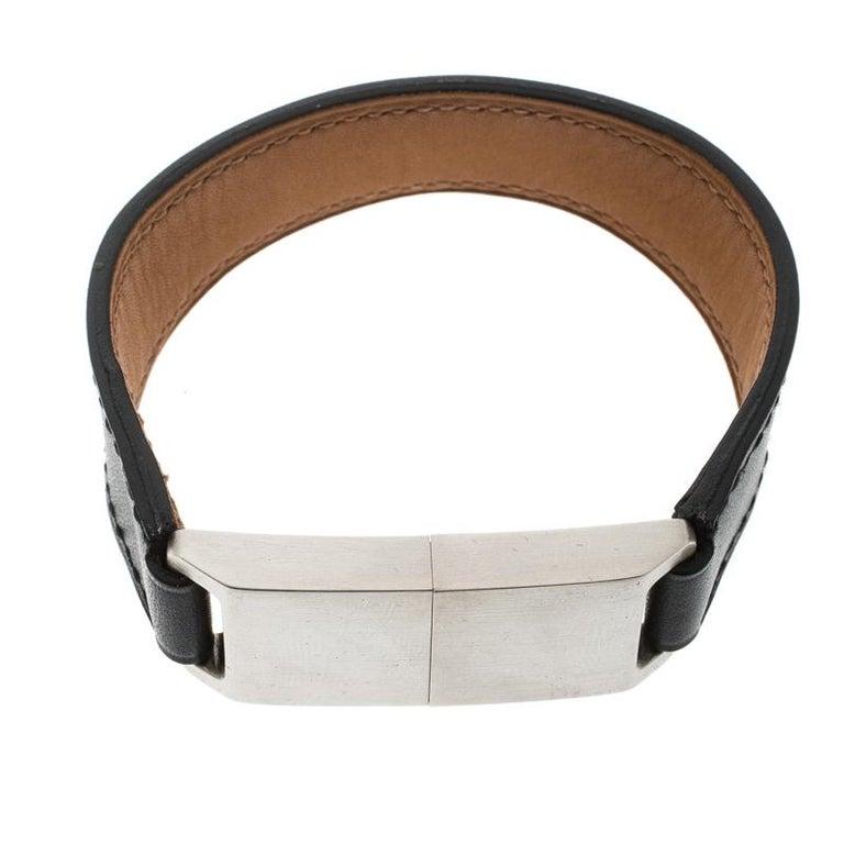 Hermes Usb Flash Drive Black Leather Silver Tone Bracelet