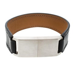 Hermes USB Flash Drive Black Leather Silver Tone Bracelet