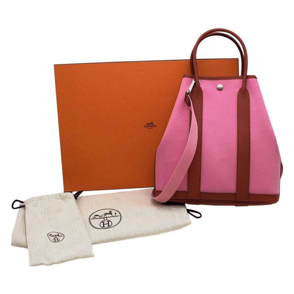 Hermes Vache Hunter/Officier Canvas Pink & Duchesse Garden File 28 PHW