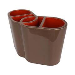 Hermes Vase Odyssee Etoupe/Terracotta w/ Gold Trim New w/ Box