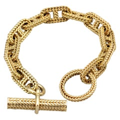 Hermès Vendome Large GM Chaine D'Ancre Tresse Gold Toggle Link Bracelet