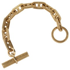 Hermes Vendôme Tresse Gold Toggle Bracelet