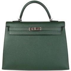 HERMES Vert Anglais green Epsom leather & Palladium KELLY 35 Sellier Bag